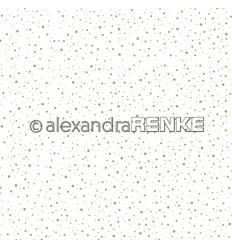 Scrapbooking Papier Schneegestöber Gold auf Weiss - Alexandra Renke