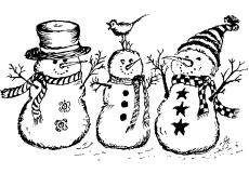 Bonhommes de neige tampon décoratifs