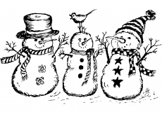Schneemänner Holzstempel