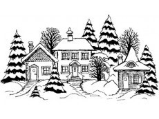 Winter houses rubber stamps